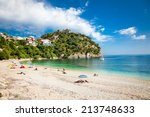 beautiful valtos beach near... | Shutterstock . vector #213748633