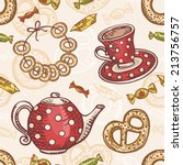 seamless pattern with tea set.... | Shutterstock .eps vector #213756757