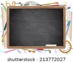 black desk with copyspace and...   Shutterstock .eps vector #213772027