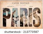 vintage postcard  letters paris | Shutterstock . vector #213773587