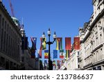 flags and street lamp | Shutterstock . vector #213786637