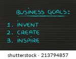list of business goals to... | Shutterstock . vector #213794857