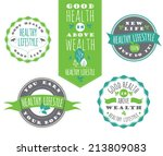 set of healthy lifestyle labels ... | Shutterstock .eps vector #213809083