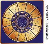 horoscope circle with  zodiac... | Shutterstock .eps vector #213825637