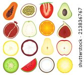 fresh fruits icon collection | Shutterstock .eps vector #213836767