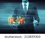 businessman holding smartphone... | Shutterstock . vector #213859303