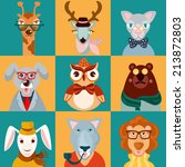 decorative animal hipsters... | Shutterstock . vector #213872803
