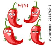 funny cartoon vegetable pepper | Shutterstock .eps vector #213876043