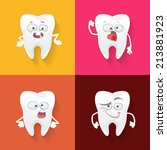 vector set of cute teeth for... | Shutterstock .eps vector #213881923