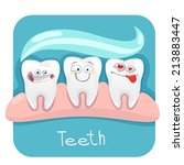 vector set funny teeth for... | Shutterstock .eps vector #213883447