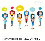 people talk and gather together ... | Shutterstock .eps vector #213897553