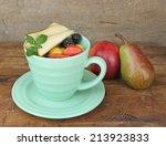 Fresh Tasty Fruit Salad On Table