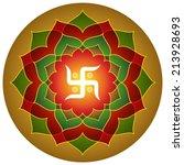 hindu symbol swastika lotus... | Shutterstock .eps vector #213928693