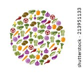 vegetable icons in circle | Shutterstock .eps vector #213951133