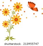 yellow flowers and orange brown ... | Shutterstock .eps vector #213955747