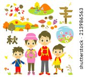 hiking autumn family | Shutterstock .eps vector #213986563