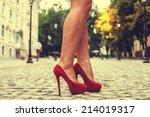 woman legs in red high heel... | Shutterstock . vector #214019317