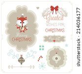 set of christmas ornaments and... | Shutterstock .eps vector #214036177