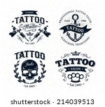 vector tattoo studio logo... | Shutterstock .eps vector #214039513