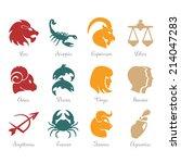 horoscope zodiac signs   fire ... | Shutterstock .eps vector #214047283