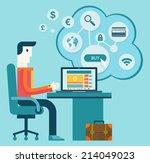flat modern design vector... | Shutterstock .eps vector #214049023