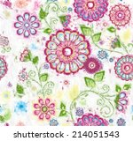hand painted floral background | Shutterstock . vector #214051543