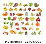 collection of fruit isolated on ... | Shutterstock . vector #214087033