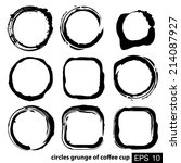 circles grunge of coffee cup   Shutterstock .eps vector #214087927