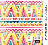 seamless colorful aztec pattern | Shutterstock .eps vector #214092667