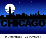 chicago skyline reflected with... | Shutterstock .eps vector #214095067