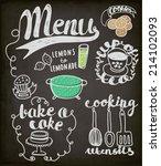 blackboard doodles themed...   Shutterstock .eps vector #214102093