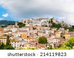 medieval village perched on the ... | Shutterstock . vector #214119823