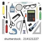 set of stationery tools  marker ... | Shutterstock .eps vector #214121227