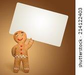 gingerbread man holding white...   Shutterstock . vector #214122403