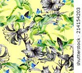 floral seamless pattern with... | Shutterstock . vector #214154203