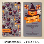halloween two sides poster or... | Shutterstock .eps vector #214154473