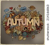 autumn hand lettering and... | Shutterstock .eps vector #214166863