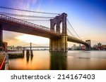 Stock photo brooklyn bridge in new york city at dawn 214167403