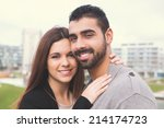 lovely couple hugging each... | Shutterstock . vector #214174723