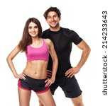 athletic couple   man and woman ... | Shutterstock . vector #214233643
