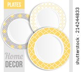 set of 3 matching decorative... | Shutterstock .eps vector #214244833