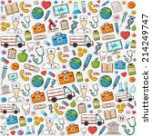 healthcare doodle pattern... | Shutterstock .eps vector #214249747
