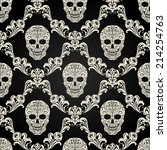 decorative pattern with skulls | Shutterstock .eps vector #214254763