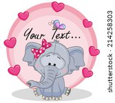 greeting card elephant girl... | Shutterstock .eps vector #214258303