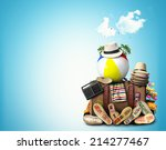 travel  retro suitcase with... | Shutterstock . vector #214277467