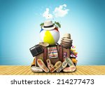 travel  retro suitcase with... | Shutterstock . vector #214277473