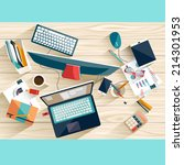 workplace concept. flat design | Shutterstock .eps vector #214301953