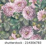beautiful  pink dahlias ...   Shutterstock . vector #214306783