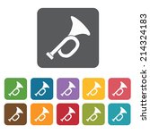 Trumpet icons set. Rectangle colourful 12 buttons. Vector illustration eps10