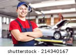 friendly smiling mechanic | Shutterstock . vector #214340167